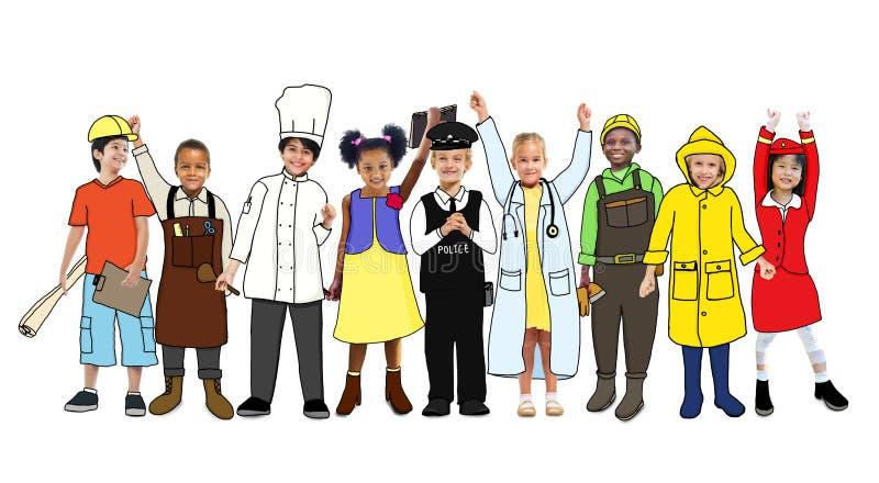 有各种各样的职业概念的不同的孩子 向量例证