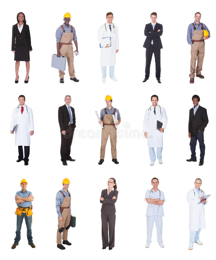 有各种各样的职业的不同种族的人 免版税库存照片