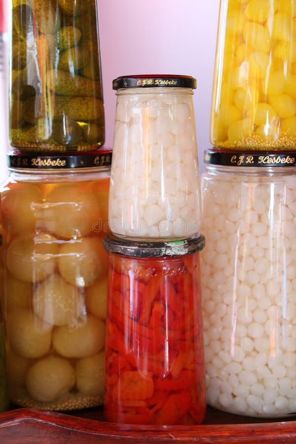 有各种各样的菜的六个罐 库存照片