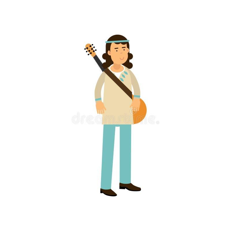 有吉他的平的动画片人嬉皮 与长的头发的无忧无虑的男性在经典woodstock 60嬉皮亚文化群穿戴了 库存例证