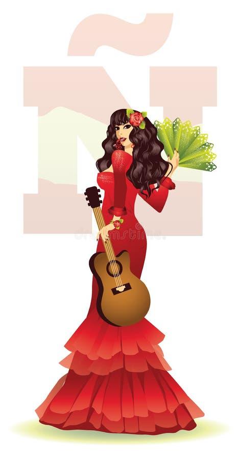 有吉他的佛拉明柯舞曲西班牙女孩 向量例证