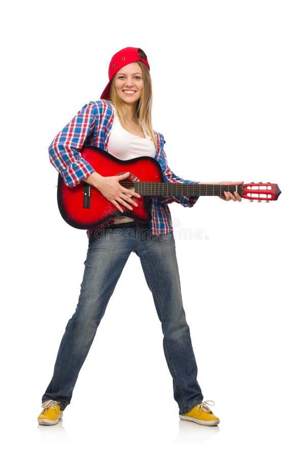 有吉他的妇女 库存照片