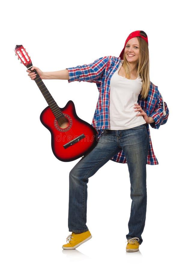 有吉他的妇女 免版税图库摄影