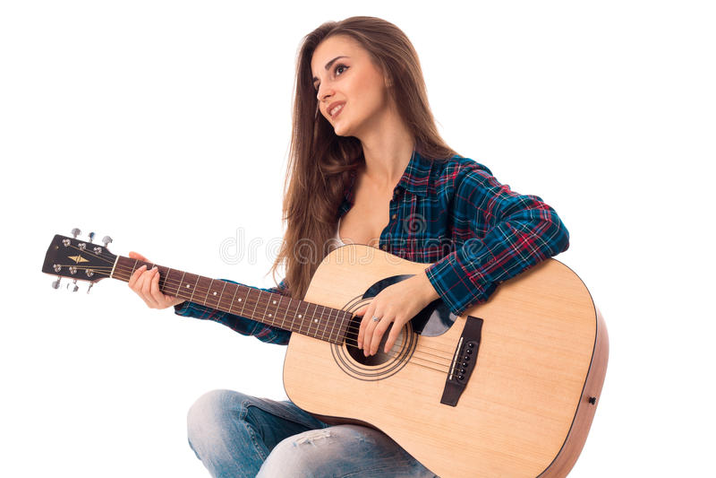 有吉他的魅力夫人 免版税库存图片