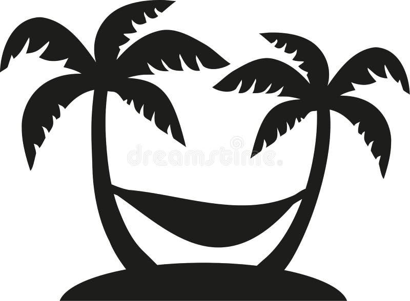 有吊床的棕榈 向量例证