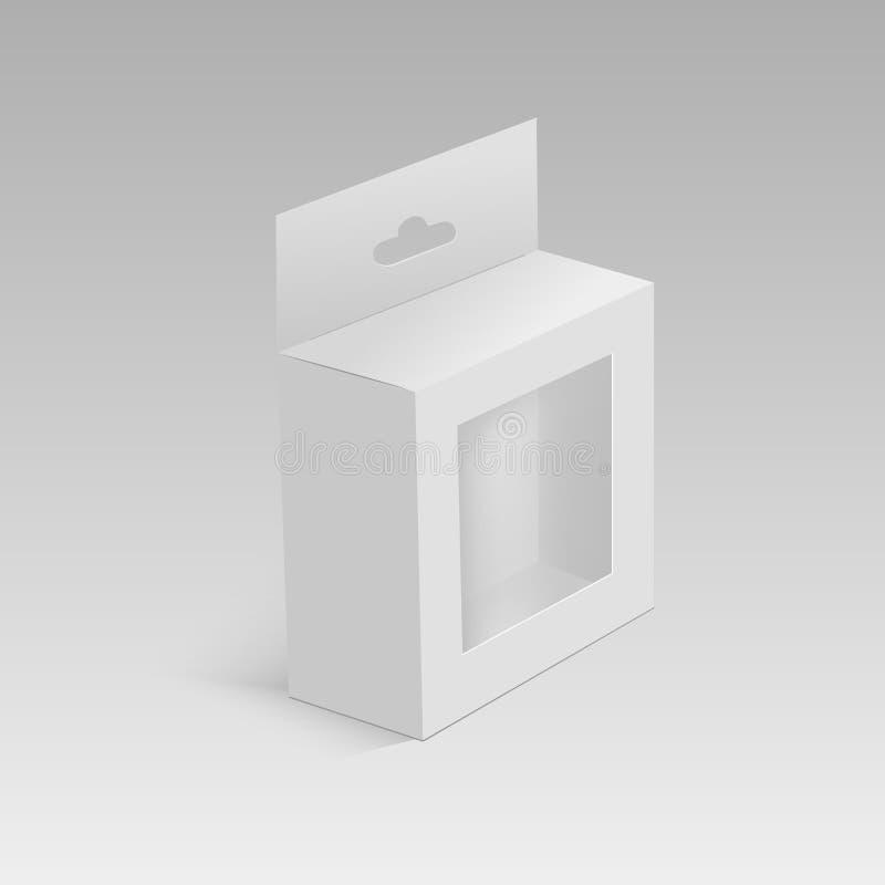 有吊槽孔和塑料窗口的白色产品包裹箱子 模板的嘲笑准备好您的设计 向量 库存例证