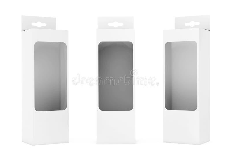 有吊槽孔和透明影片Wi的白色产品包裹箱子 皇族释放例证