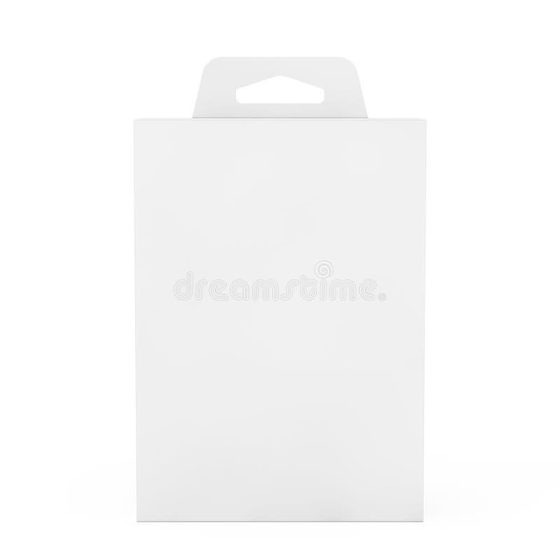 有吊槽孔的大模型白色产品包裹箱子 3d翻译 库存例证