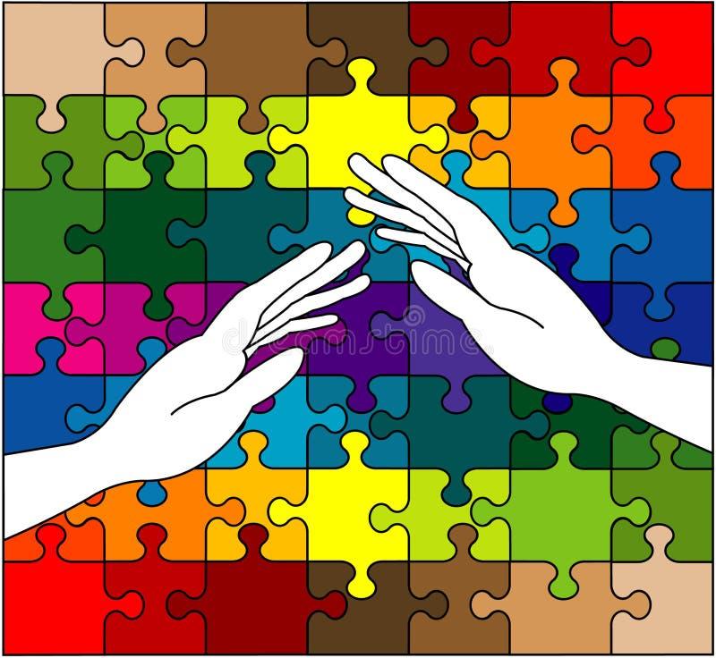 有同情心的五颜六色的现有量难题 库存例证