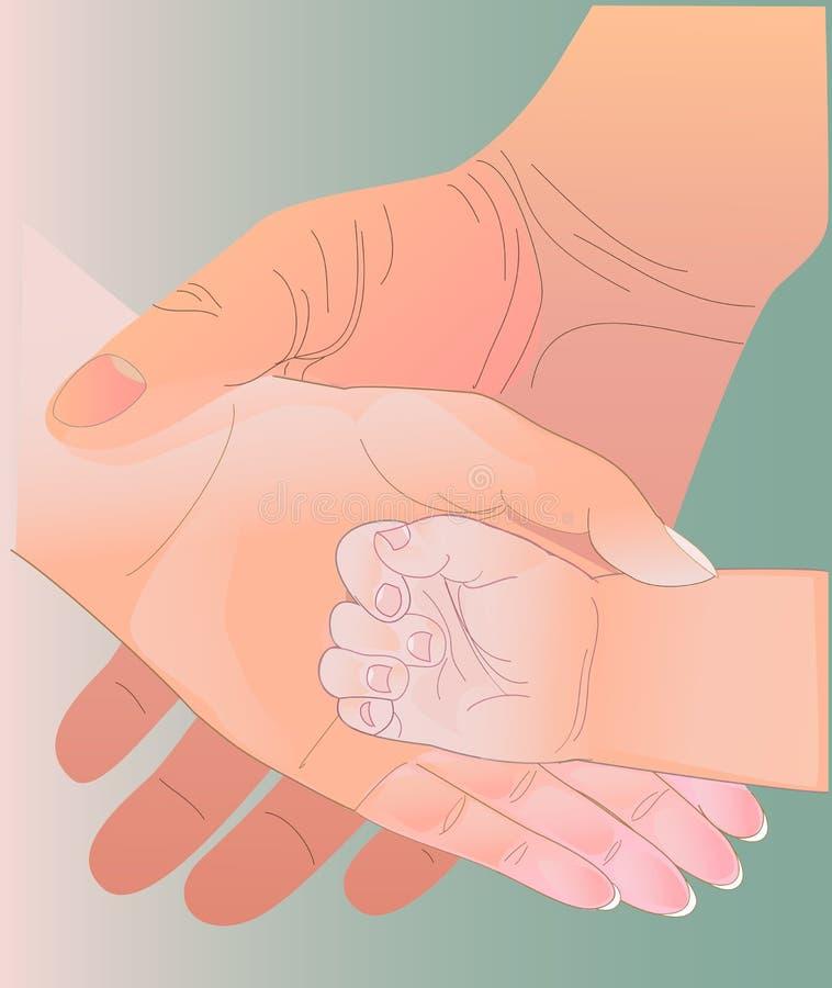 有同情心的手 向量例证