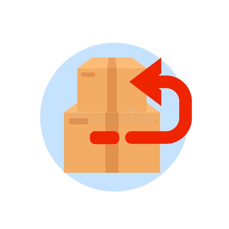 有后面箭头的箱子 在白色背景隔绝的回归购买包裹 传染媒介平的象 皇族释放例证