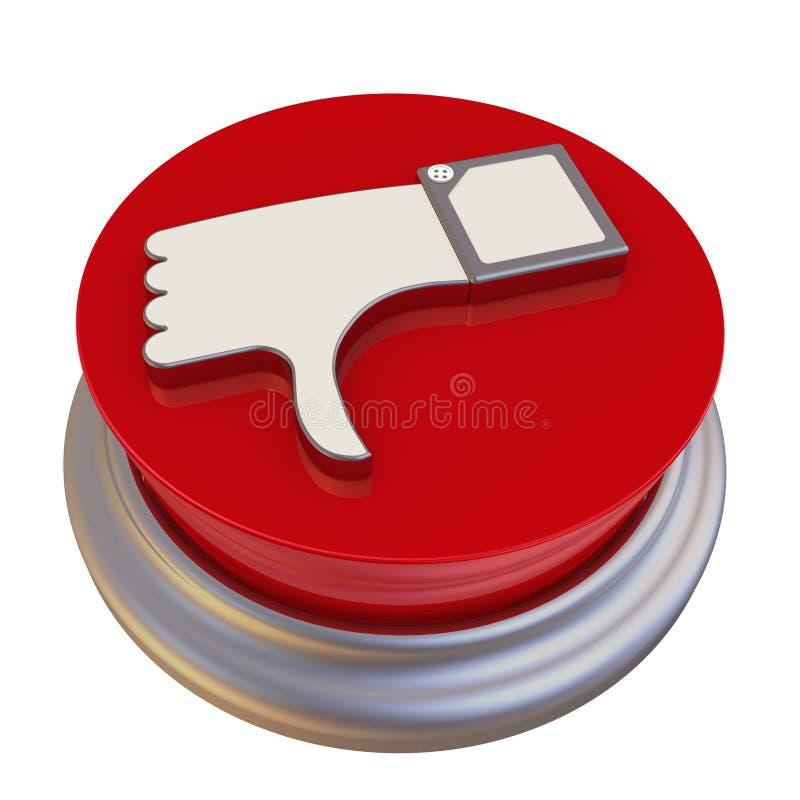 有否定的评审的标志的圆的按钮 库存例证