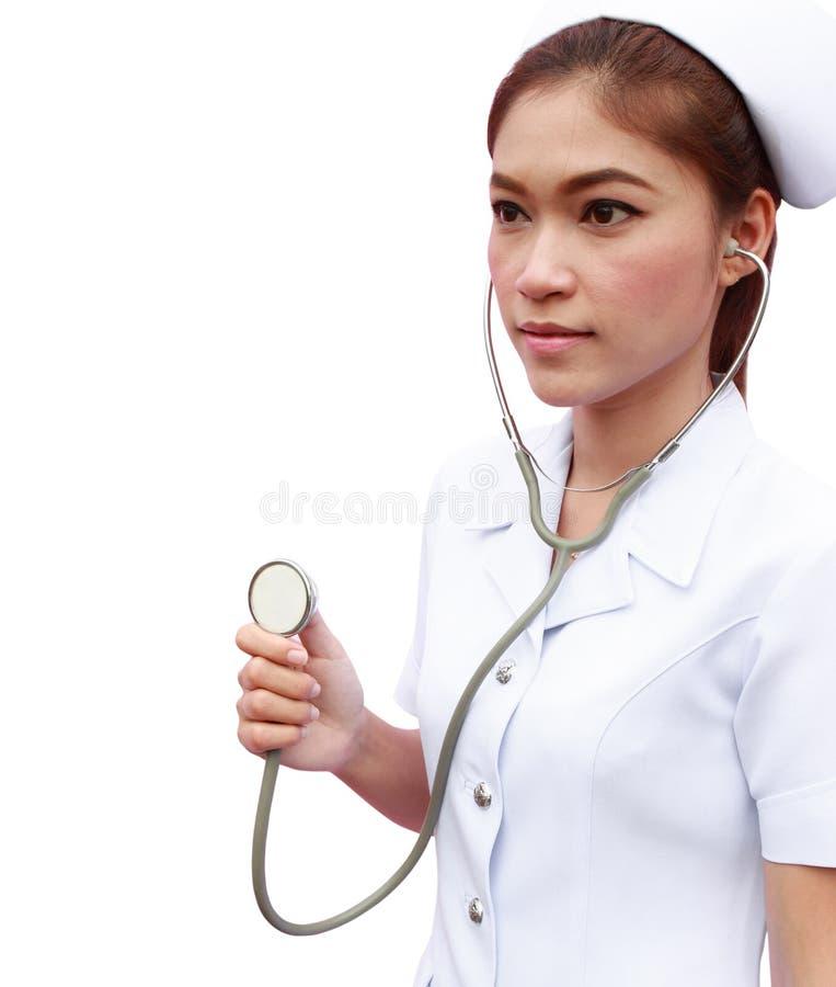 有听诊器的年轻人护士 库存图片