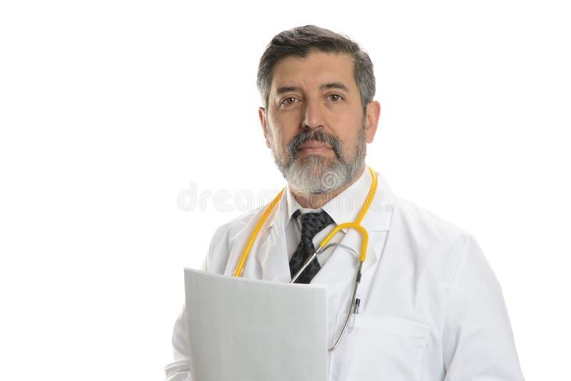 有听诊器的成熟医生 免版税库存照片