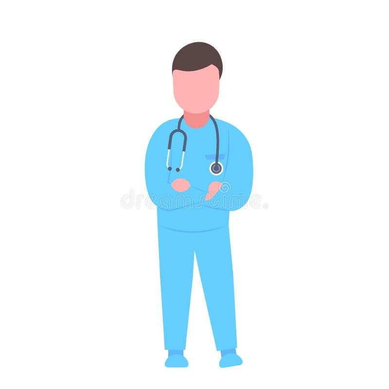 有听诊器的男性医生折叠了手人蓝色一致的专业职业概念的诊所工作者 向量例证