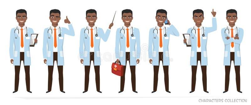 有听诊器的非裔美国人的医生 向量例证