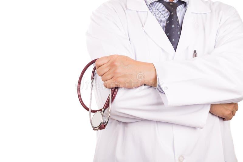 有听诊器的, w成熟的,确信的亚裔男性医生 免版税库存照片