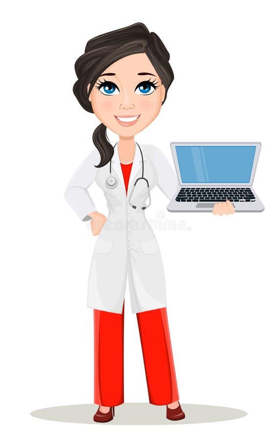 有听诊器的医生妇女 逗人喜爱的在拿着膝上型计算机的医疗褂子的动画片微笑的医生字符 皇族释放例证