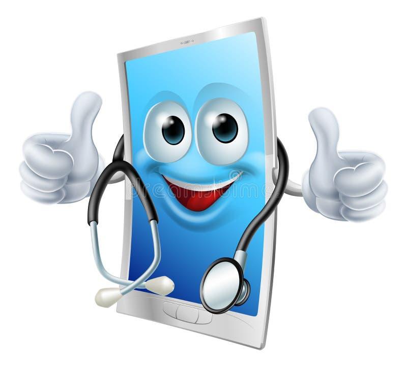 有听诊器的医生电话 库存例证