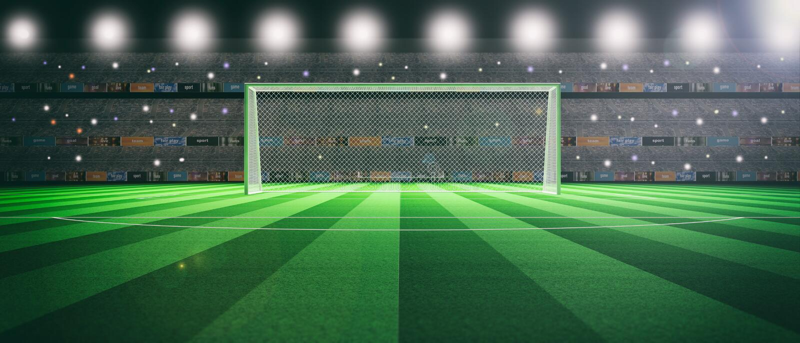 有启发性足球场在晚上 3d例证 皇族释放例证