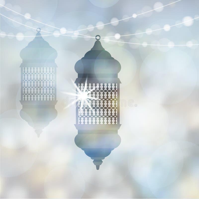 有启发性阿拉伯灯,有光串的灯笼  穆斯林的现代被弄脏的传染媒介例证背景 库存例证