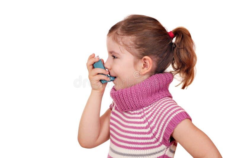 有吸入器的小女孩 库存照片