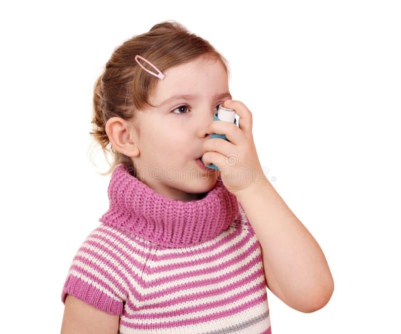 有吸入器的小女孩 库存图片