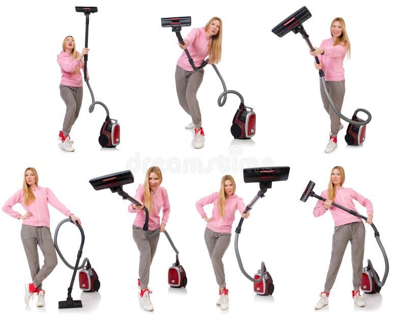 Download 有吸尘器的少妇在白色 库存照片. 图片 包括有 愉快, 家庭, 房子, 擦净剂, 差事, 女管家, 地毯 - 72363242