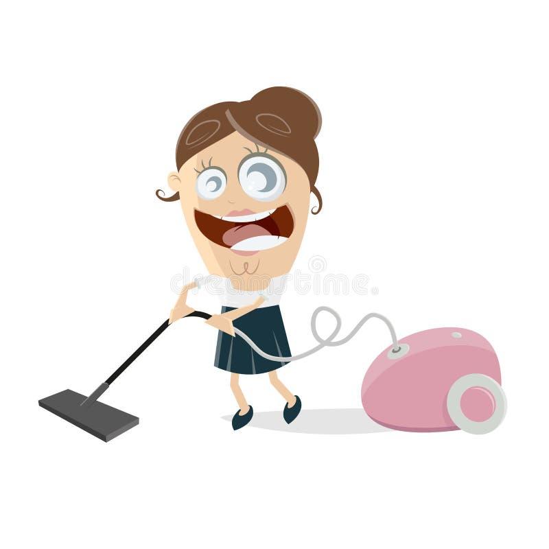 有吸尘器的愉快的妇女 向量例证