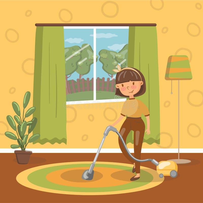 有吸尘器的,传染媒介例证微笑的年轻深色的妇女清洁客厅 向量例证