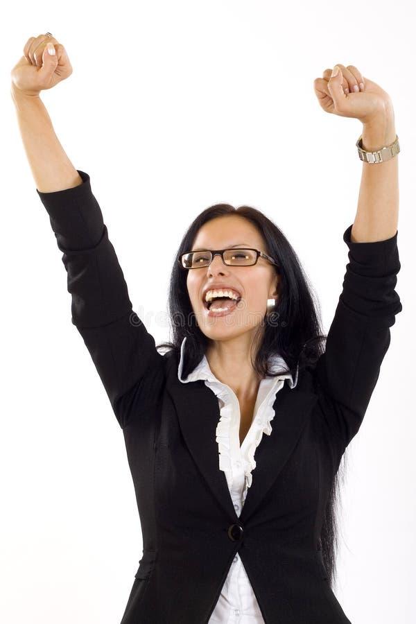 有吸引力女实业家赢取 免版税图库摄影