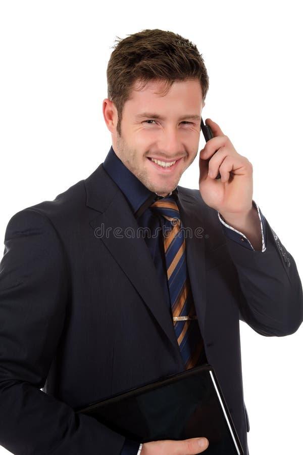 有吸引力生意人电话联系 免版税图库摄影