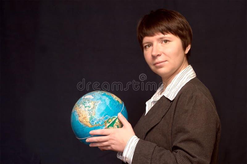 有吸引力的企业地球妇女年轻人 免版税图库摄影