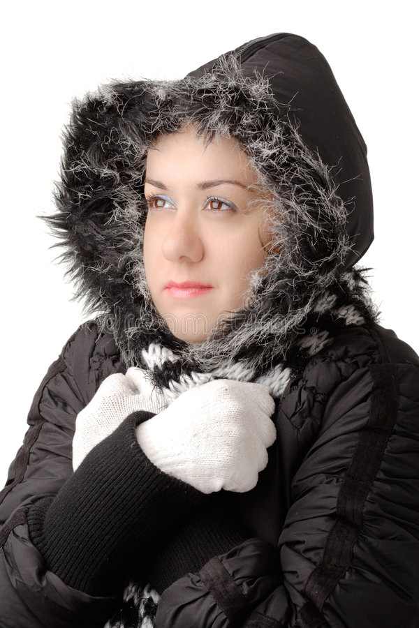 有吸引力的冷感觉妇女年轻人 库存图片