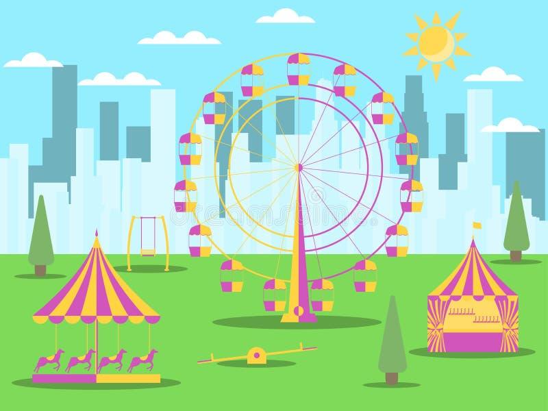 有吸引力的城市公园在摩天大楼背景  弗累斯大转轮、一个旋转木马有马的和摇摆 向量 皇族释放例证