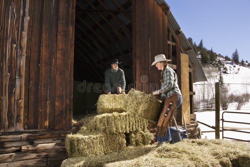有吸引力的大包耦合干草移动 免版税库存图片