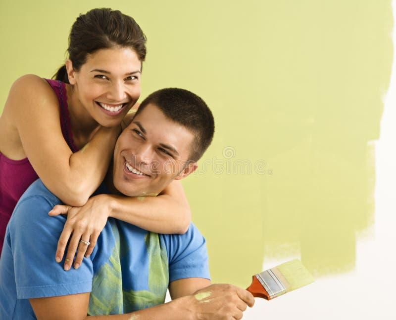 有吸引力的夫妇绘画 图库摄影