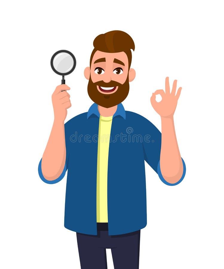 有吸引力的年轻人藏品放大镜和打手势okay/OK标志 成交,好,同意,批准,搜寻,发现,发现 皇族释放例证