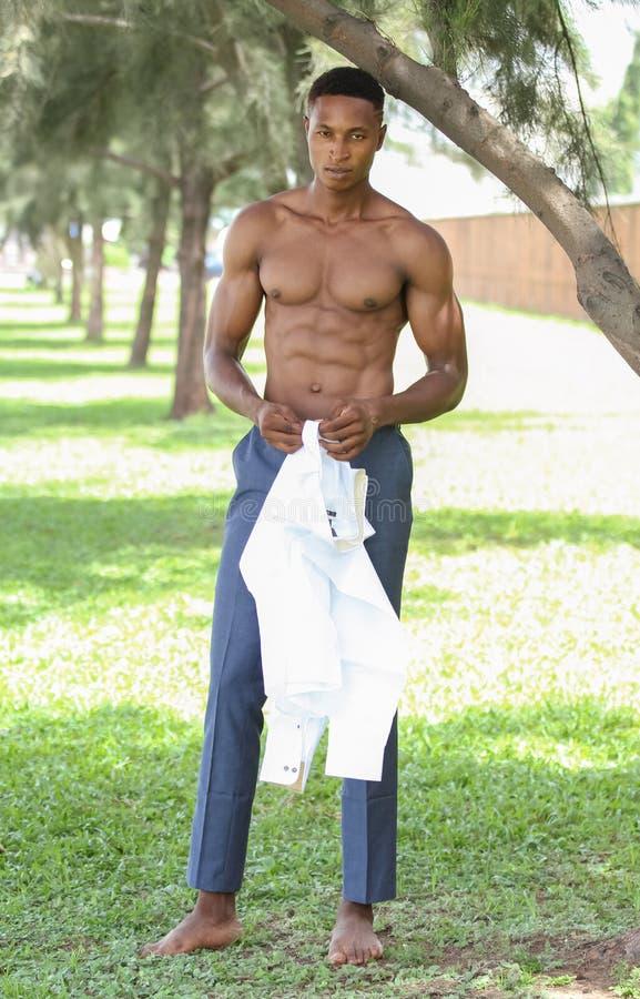 有吸引力的年轻肌肉和适合的男性黑模型穿戴了聪明偶然 库存图片