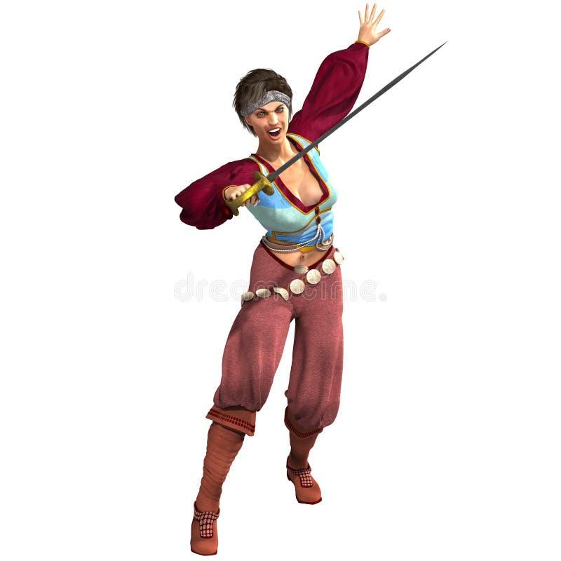 有吸引力的幻想女性海盗剑 库存例证