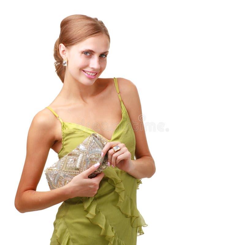 有吸引力的手袋夫人年轻人 免版税库存图片