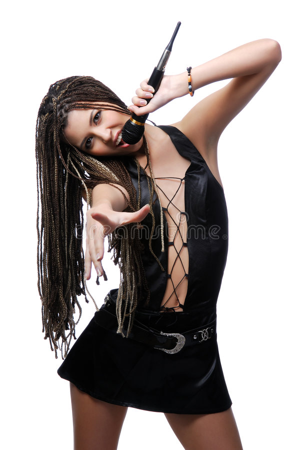 有吸引力的歌唱家妇女年轻人 库存照片