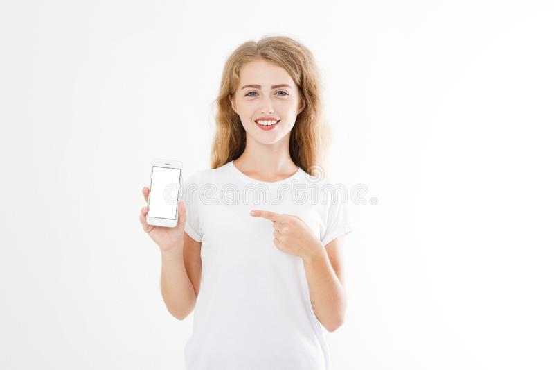 有吸引力的画象微笑,俏丽,深色的妇女,衬衣的女孩,指向 青少年的女实业家 确信的经理年轻人 复制 库存图片