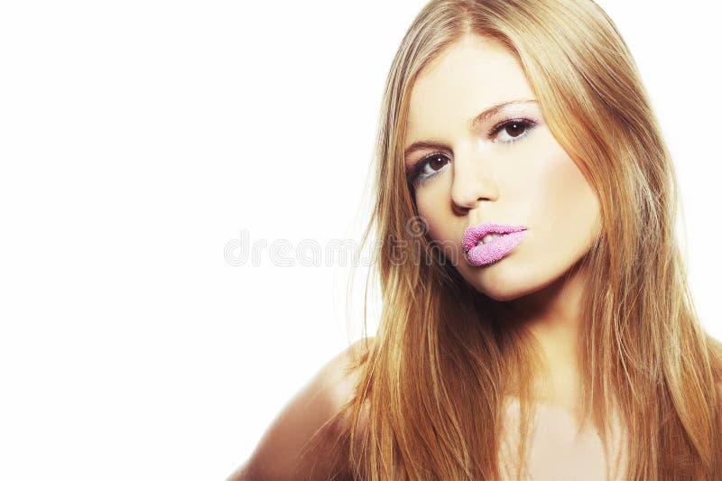 有吸引力的白肤金发的女孩纵向年轻&# 库存照片