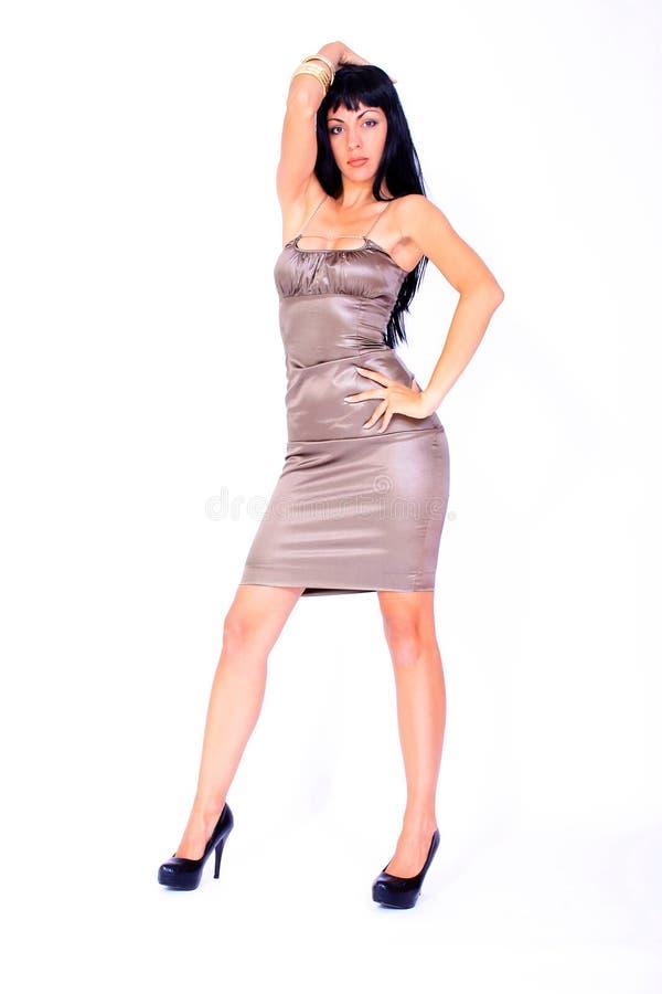 有吸引力的礼服晚上缎佩带的妇女 库存图片