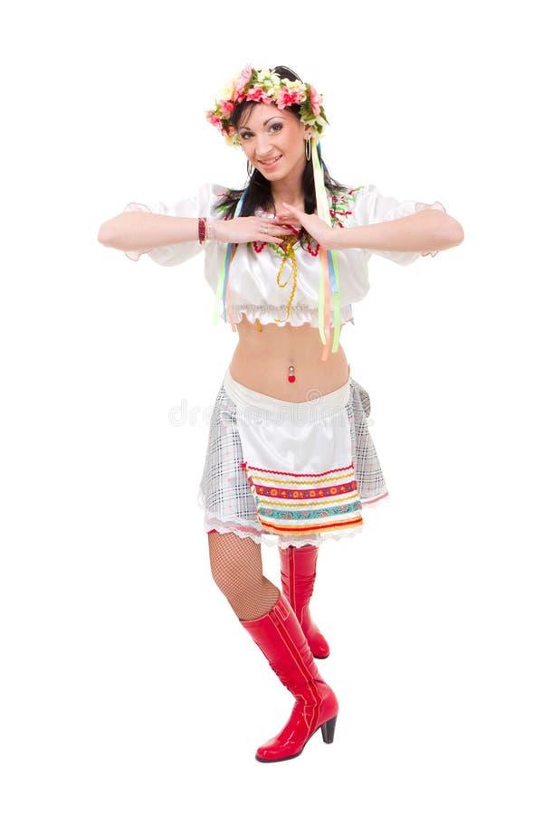 有吸引力的礼服民间乌克兰佩带的妇&# 免版税库存照片