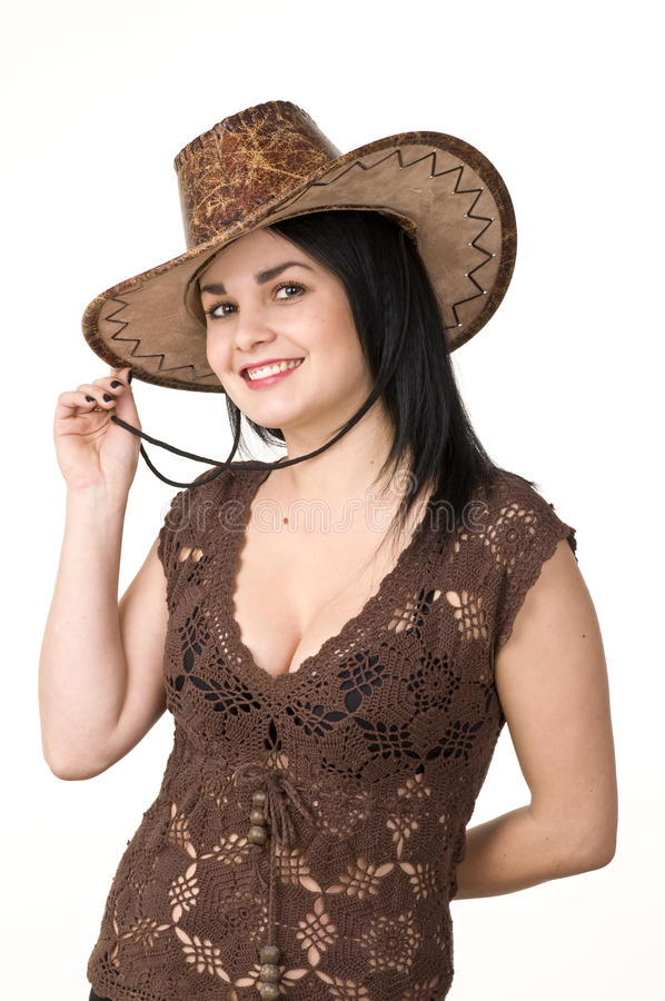 有吸引力的背景美丽的深色的牛仔帽自然纵向白人妇女年轻人 库存图片