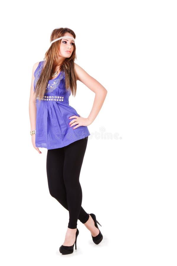 有吸引力的蓝色礼服女孩年轻人 库存照片
