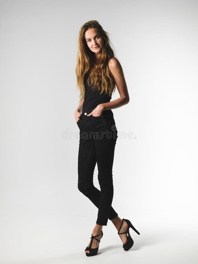 有吸引力的长的腿长发亭亭玉立的式样妇女 库存图片