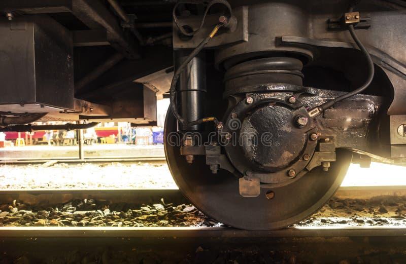 有吸收体的一个火车轮子在轨道 免版税库存图片